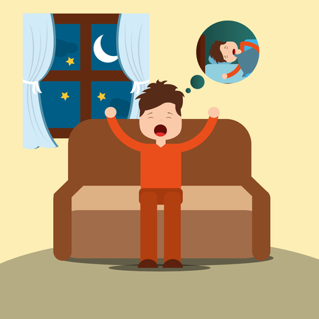 young man yawning thinking sleep sitting on sofa vector illustration Illustration