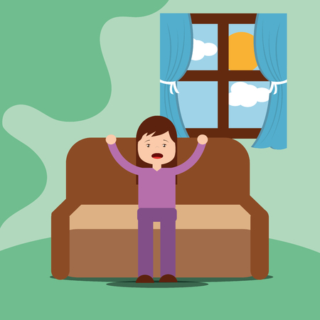 young girl yawning and stretching out sitting on sofa vector illustration