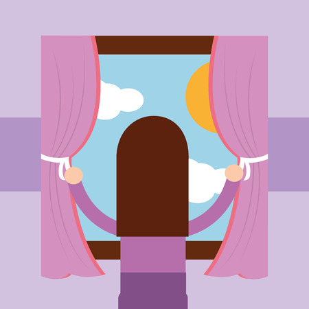 girl looking out the window morning scene vector illustration