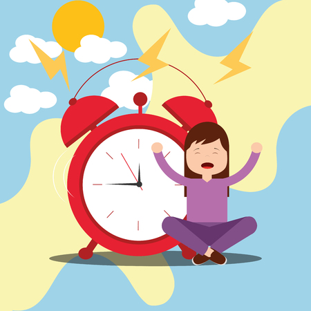 girl sitting in floor with alarm clock wake up vector illustration