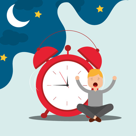 young boy sitting with alarm clock wake up concept vector illustration Stock Illustratie