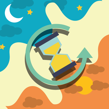 hour glass clock refresh arrow timer vector illustration