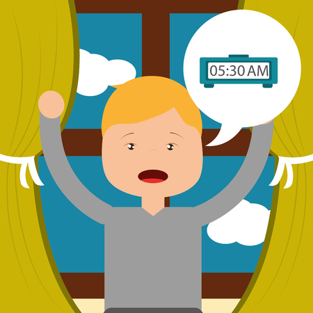little boy wake up clock and window background vector illustration