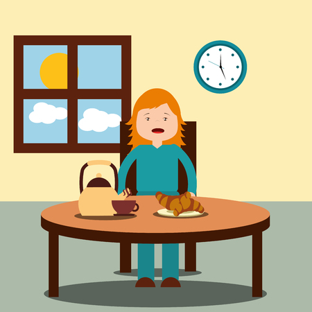 girl sitting in floor with alarm clock wake up vector illustration Archivio Fotografico - 101532690