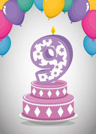birthday card with candle number nine vector illustration design Illusztráció