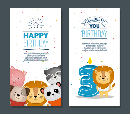 happy birthday card with cute animals vector illustration design Zdjęcie Seryjne - 101532787
