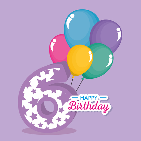 birthday card with candle number six vector illustration design