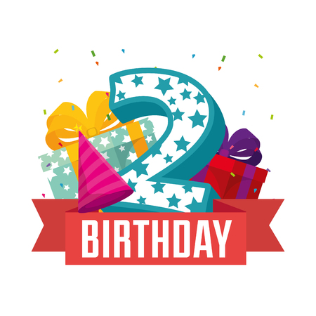 birthday card with candle number two vector illustration design Stock Photo
