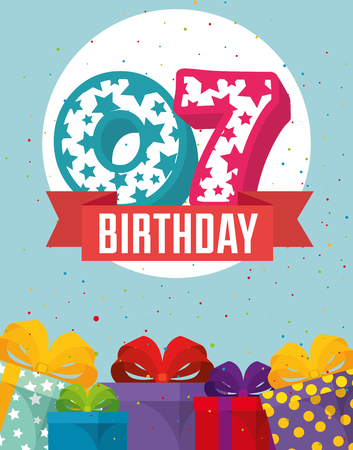 birthday card with candle number seven vector illustration design