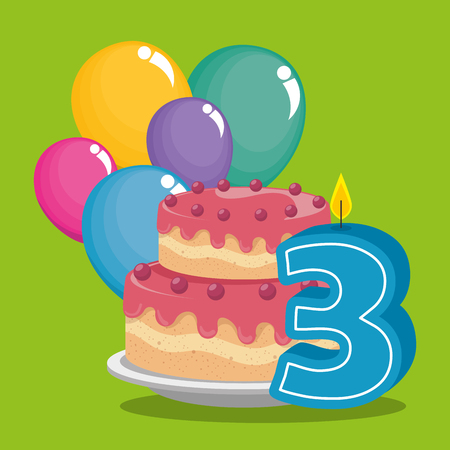 birthday card with candle number three vector illustration design 일러스트