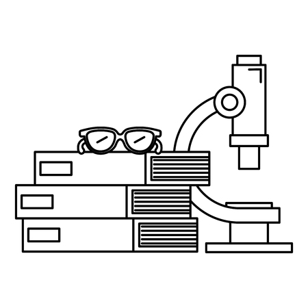 books school pile with microscope and glasses vector illustration design