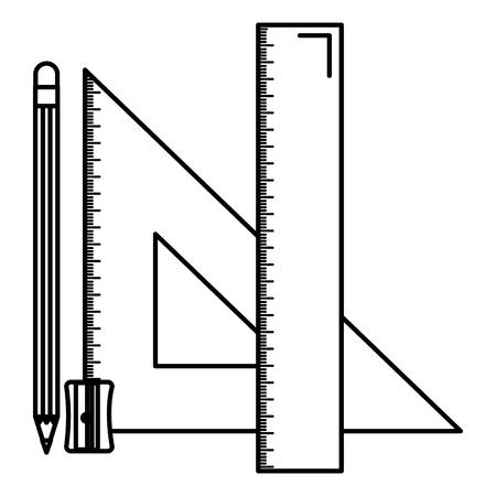 Reglas geométricas triangulares y diseño de ilustración de vector de escuela de lápiz