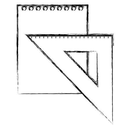 triangular geometric rule and leaf paper school vector illustration design Illustration