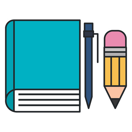 book school with pencil and pen vector illustration design Illusztráció