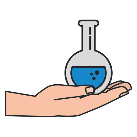 hand lifting tube test isolated icon vector illustration design