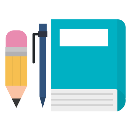 book school with pencil and pen vector illustration design  イラスト・ベクター素材