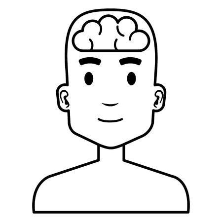 human profile with brain vector illustration design  イラスト・ベクター素材