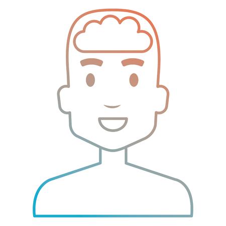 human profile with brain vector illustration design Иллюстрация