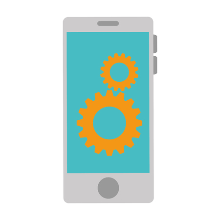 smartphone with gears setup vector illustration design