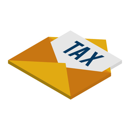 envelope mail with tax document isometric icon vector illustration design