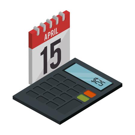 calendar reminder with calculator isometric icon vector illustration design