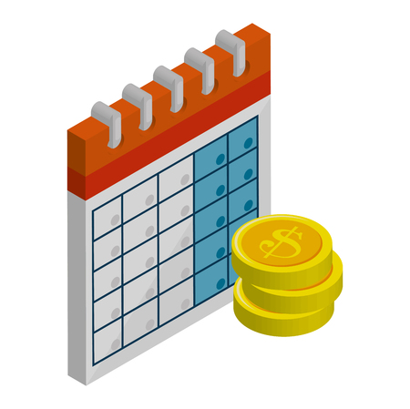 calendar reminder with coins isometric icon vector illustration design