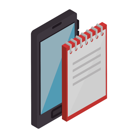 office notebook with smartphone vector illustration design Ilustrace