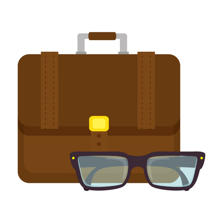 portfolio briefcase with glasses vector illustration design