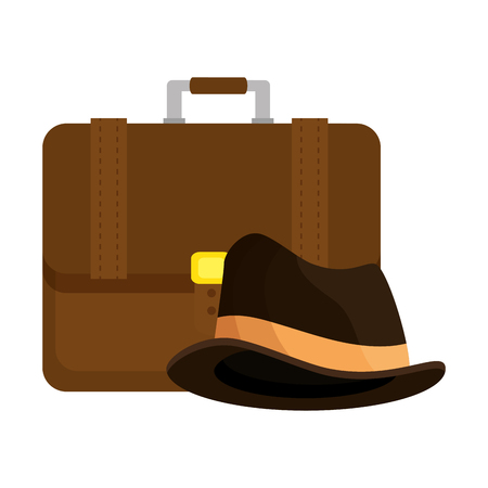 portfolio briefcase with hat hipster style vector illustration design  イラスト・ベクター素材