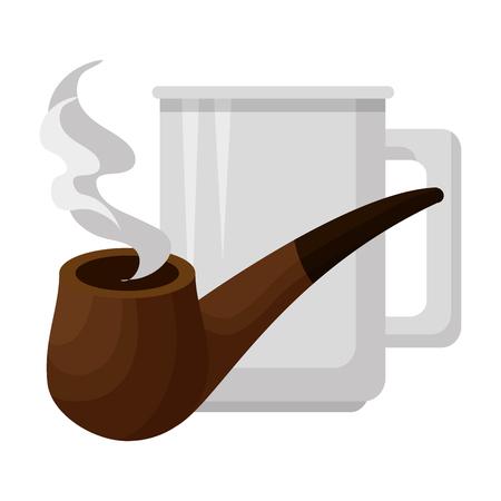 coffee cup with pipe wooden vector illustration design Archivio Fotografico - 101576723