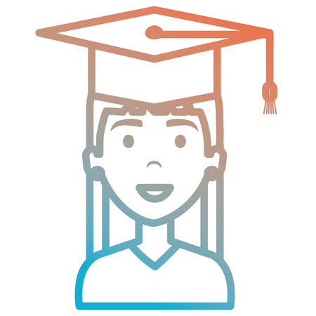 woman student graduating with uniform vector illustration design