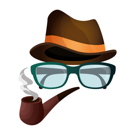 hat with glasses and pipe wooden hipster style vector illustration design  イラスト・ベクター素材