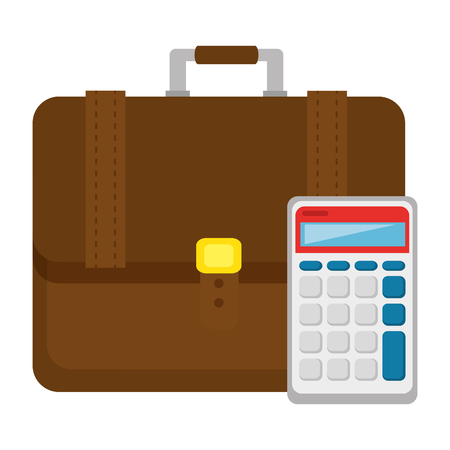 portfolio briefcase with calculator vector illustration design