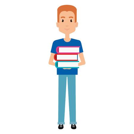 figure human with books silhouette avatar vector illustration design
