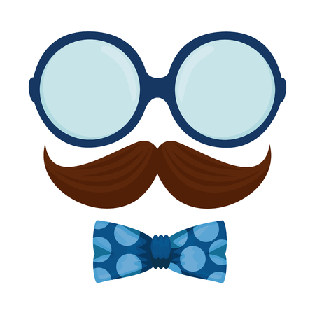 glasses and mustache with bowtie hipster style vector illustration design