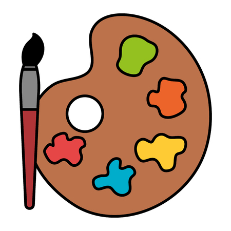 paint colors pallette with brush vector illustration design