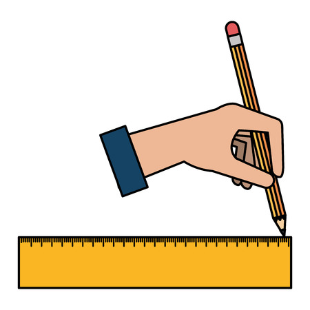 hand drawing with geometric rule school vector illustration design