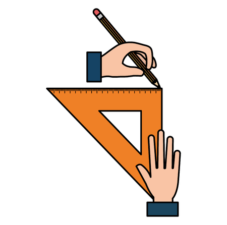 hands drawing with triangular geometric rule school vector illustration design