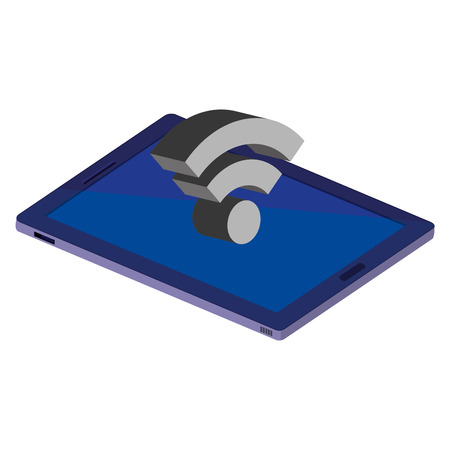 tablet device isometric icon vector illustration design 向量圖像