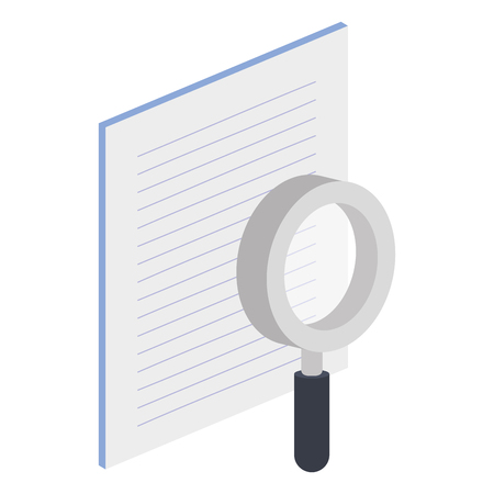 paper document with magnifying glass isometric icon vector illustration