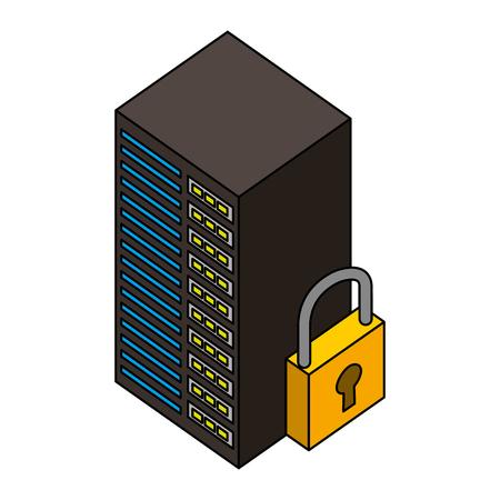 data server center cyber security isometric design vector illustration Illustration