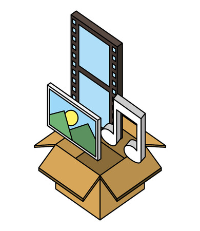 cardboard box photo movie film music note isometric vector illustration