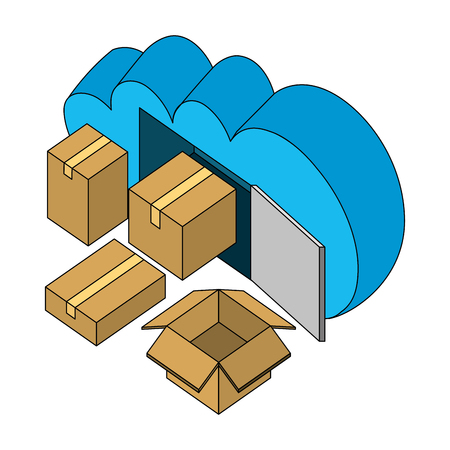 cloud computing packages storage isometric design vector illustration