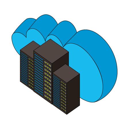 cloud computing data center technology isometric design vector illustration Illustration