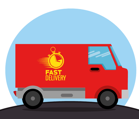 delivery service concept with van vehicle vector illustration design  イラスト・ベクター素材