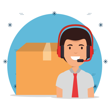 delivery service with call center agent vector illustration design Illustration