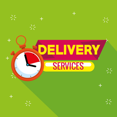 delivery service with chronometer vector illustration design