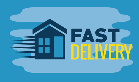 delivery service with home icon vector illustration design