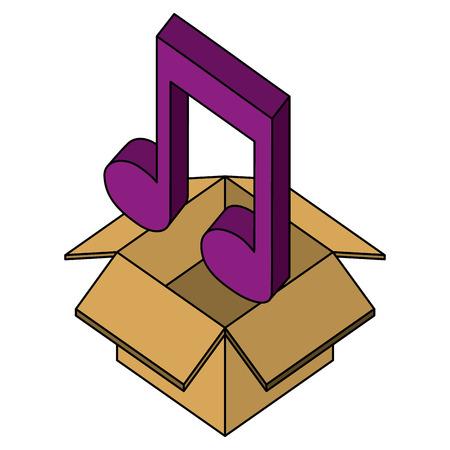 cardboard box music note sound isometric design vector illustration
