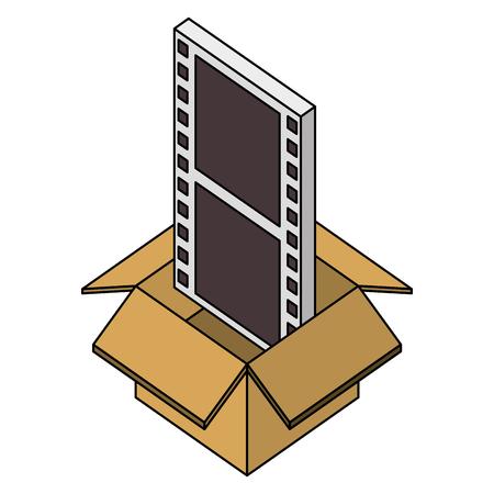 cardboard box movie film strip isometric design vector illustration